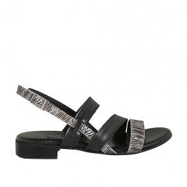 Sandale pour femmes en cuir noir et daim imprimé rayé talon 2 - Pointures disponibles:  33, 34, 42, 43, 44, 45