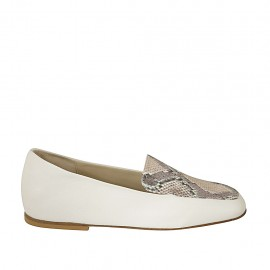 Woman's mocassin in white and multicolored printed leather heel 1 - Available sizes:  33, 34, 42, 43, 44, 45
