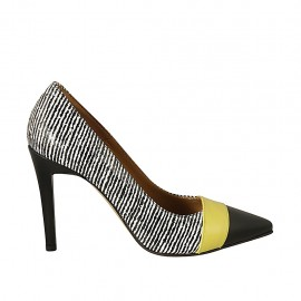 Woman's pointy pump in black and white leather and yellow patent leather heel 9 - Available sizes:  34, 42, 44