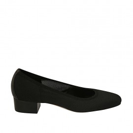 Woman's pump in black fabric and leather heel 3 - Available sizes:  33, 42, 43, 44