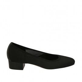 Zapato de salon para mujer en tejido y piel negra tacon 3 - Tallas disponibles:  33, 42, 43, 44