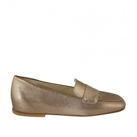 Woman's mocassin in bronze laminated leather heel 1 - Available sizes:  33, 42, 43, 44
