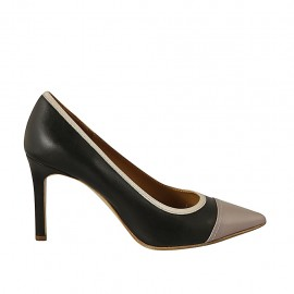 Woman's pointy pump in black leather and rose and beige patent leather heel 8 - Available sizes:  31, 32, 33, 34, 42, 43, 44, 45