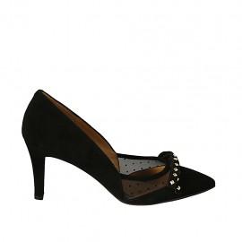 Zapato de salon puntiagudo para mujer con moño y tachuelas en tela de lunares transparente y gamuza negra tacon 7 - Tallas disponibles:  32, 33, 34, 42, 43, 44, 45