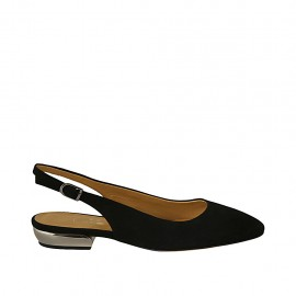 Woman's slingback pump in black suede heel 2 - Available sizes:  42, 43, 45, 46