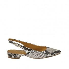 Zapato destalonado para mujer en piel imprimida multicolor tacon 2 - Tallas disponibles:  33, 34, 42, 43