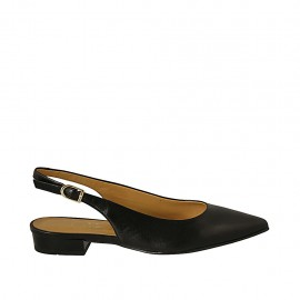 Woman's slingback pump in black leather heel 2 - Available sizes:  33, 34, 42, 43, 46
