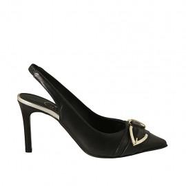 Chanelpump für Damen mit Schnalle und Gummiband aus schwarzem Leder und platinfarbenem laminiertem Leder Absatz 8 - Verfügbare Größen:  32, 33, 34, 42, 43, 45
