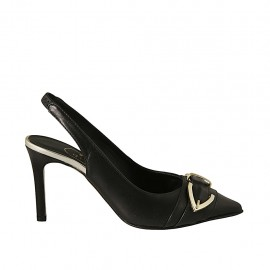 Zapato destalonado para mujer con hebilla y elastico en piel negra y laminada platino tacon 8 - Tallas disponibles:  32, 33, 34, 42, 45