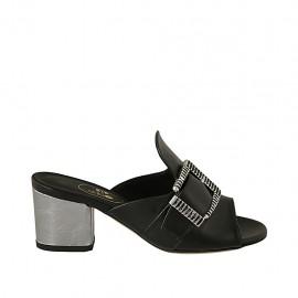 Damenpantolette mit Schnalle aus schwarzem und silberlaminiertem Leder Absatz 5 - Verfügbare Größen:  32, 33, 34, 42, 43, 44, 45
