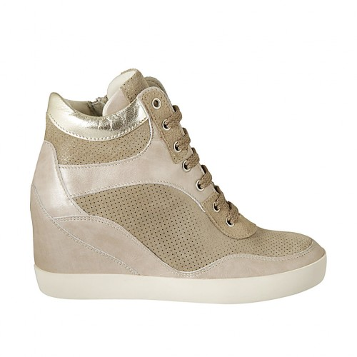 Woman's laced shoe with zipper in platinum and rose laminated leather and beige printed suede wedge 6 - Available sizes:  34, 43