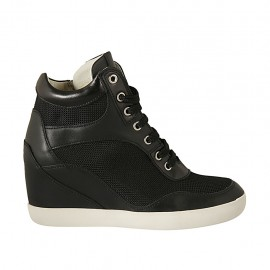 Chaussure à lacets avec fermeture éclair en cuir et tissu noir talon compensé 6 - Pointures disponibles:  32, 33, 34, 42, 43, 44, 45