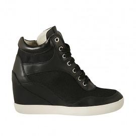 Zapato para mujer con cordones y cremallera en piel y tejido negro cuña 6 - Tallas disponibles:  32, 33, 34, 42, 43, 44, 45