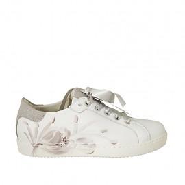 Chaussure pour femmes à lacets avec semelle amovible en cuir blanc et taupe imprimé floral lamé talon compensé 2 - Pointures disponibles:  33, 34, 44, 45, 46