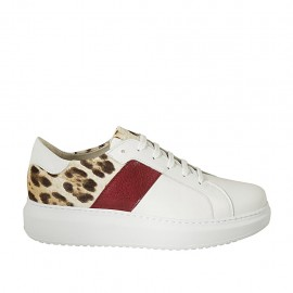 Woman's laced shoe in white, maroon and spotted leather with removable insole wedge heel 4 - Available sizes:  43, 44