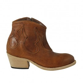 Woman's Texan ankle boot with zipper in tan brown leather heel 5 - Available sizes:  32, 33, 34, 42, 43, 44, 45, 46