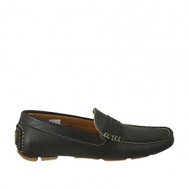 Men's car shoe in blue-colored leather - Available sizes:  37, 46, 47, 48, 49, 50, 52