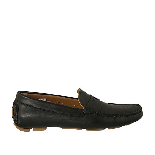 Men's car shoe in black leather - Available sizes:  36, 37, 38, 46, 47, 48, 49, 50, 52
