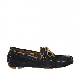 Men's car shoe with laces in blue suede - Available sizes:  36, 37, 38, 46, 47, 48, 49, 50, 52