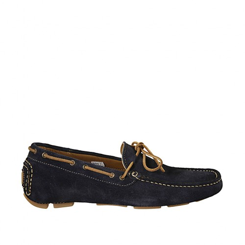 Men's car shoe with laces in blue suede - Available sizes:  36, 37, 46, 47, 48, 49, 50, 52