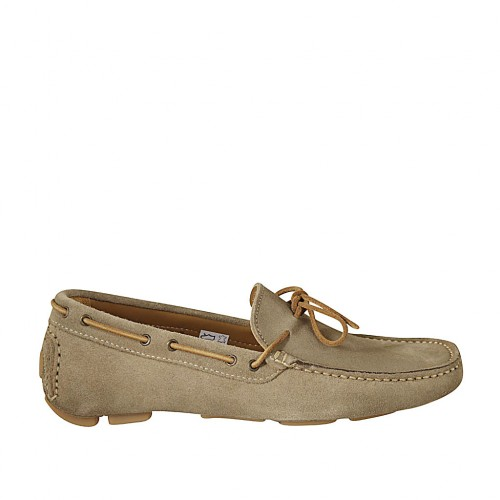 Men's laced car shoe in beige suede - Available sizes:  37, 46, 47, 48, 49, 50
