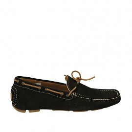 Men's car shoe with laces in black suede - Available sizes:  38, 46, 47, 48, 49, 50, 51, 52