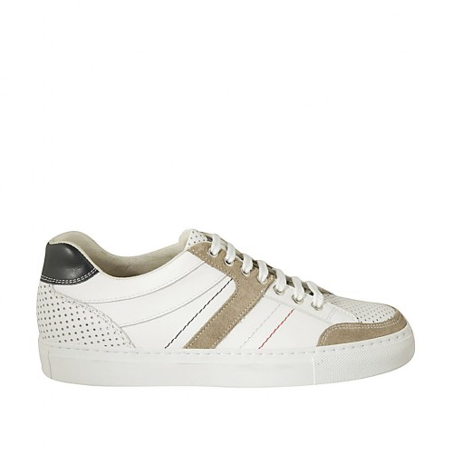 Men's sports laced shoe in blue and white leather, white pierced leather and beige suede  - Available sizes:  37, 38, 46, 47, 48, 49, 50