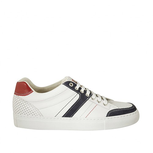 Men's sports laced shoe in red and white leather, white pierced leather and blue suede  - Available sizes:  38, 46, 47, 48, 49, 50