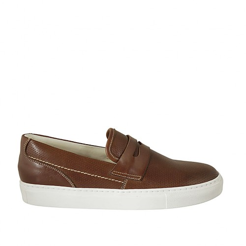 Men's loafer in brown leather and pierced leather - Available sizes:  38, 46, 48, 49, 50