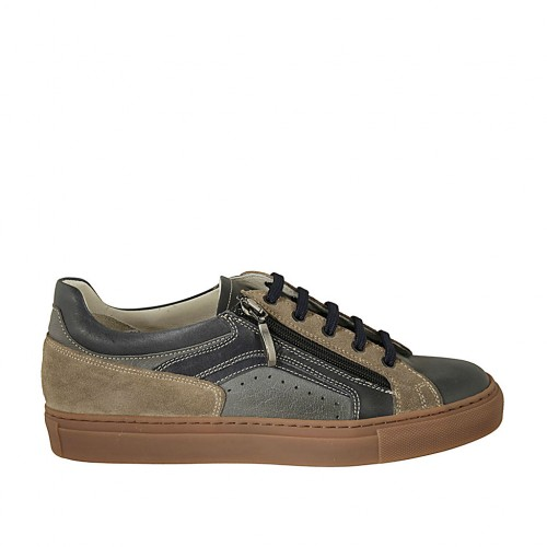 Men's laced shoe with zipper and removable insole in blue grey leather and taupe suede - Available sizes:  37, 46, 47, 48, 50