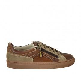 Chaussure pour hommes avec lacets, fermeture éclair et semelle amovible en cuir marron et brun clair et daim taupe - Pointures disponibles:  37, 38, 46, 47, 48, 49, 50