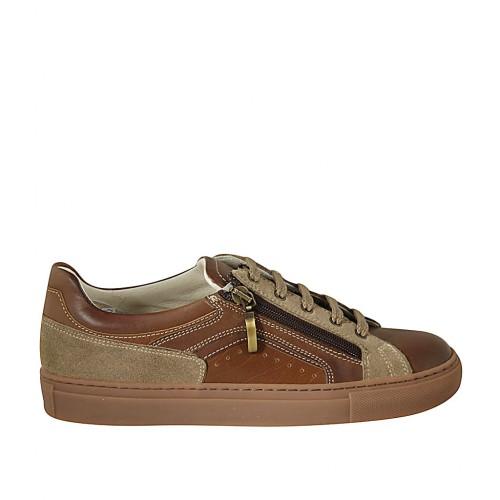 Zapato para hombres con cordones, cremallera y plantilla extraible en piel marron y color cuero y gamuza gris pardo - Tallas disponibles:  37, 38, 47, 48, 49