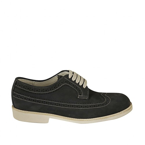 Men's casual laced derby shoe with wingtip in blue nubuck leather - Available sizes:  37, 38, 46, 47, 48, 49