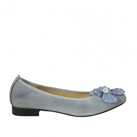 Woman's ballerina with flower in light blue and silver leather heel 2 - Available sizes:  42, 43, 44