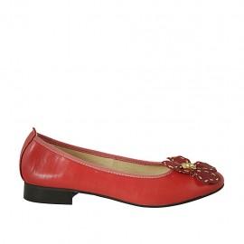 Ballerina da donna con fiore in pelle rossa e oro tacco 2 - Misure disponibili: 43, 44, 45