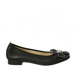 Woman's ballerina with flower in black and silver leather heel 2 - Available sizes:  43, 44