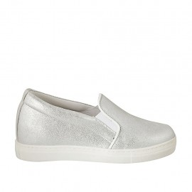 Woman's shoe with elastic bands in silver laminated leather wedge heel 2 - Available sizes:  32, 33, 34, 42, 43, 44, 45