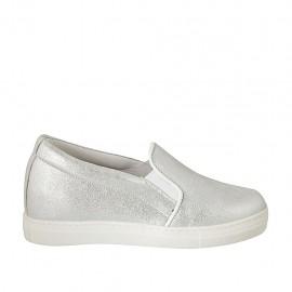 Zapato para mujer con elasticos en piel laminado plateado cuña 2 - Tallas disponibles:  32, 33, 34, 42, 43, 44, 45