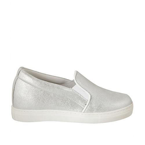 Woman's shoe with elastic bands in silver laminated leather wedge heel 2 - Available sizes:  32, 34, 42, 43, 44, 45