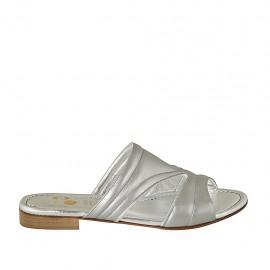 Offene Damenpantoletten aus silbernem Leder Absatz 2 - Verfügbare Größen:  42, 43, 44, 45, 46