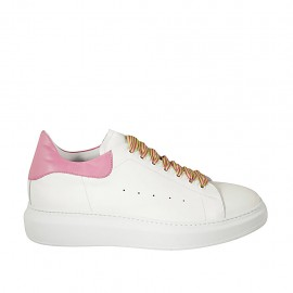 Woman's laced shoe in white and pink leather wedge heel 4 - Available sizes:  44