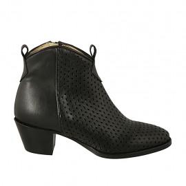 Woman's ankle boot with zipper in black leather and pierced leather heel 5 - Available sizes:  34, 45, 46