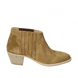 Woman's ankle boot with elastic bands in ocher suede heel 5 - Available sizes:  33, 42, 43, 44, 46