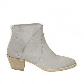 Woman's ankle boot with zipper in grey suede heel 5 - Available sizes:  33, 34, 42, 43, 44, 45, 46