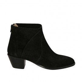 Woman's ankle boot with zipper in black suede heel 5 - Available sizes:  33, 34, 43, 44