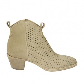 Woman's ankle boot with zipper in beige suede and pierced suede heel 5 - Available sizes:  34, 42, 44, 45, 46
