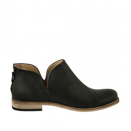 Woman's ankle boot with zipper in black leather heel 2 - Available sizes:  42, 43, 46