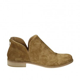 Woman's ankle boot with zipper in ocher suede heel 5 - Available sizes:  43, 44, 45, 46