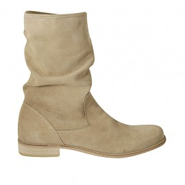 Woman's ankle boot with zipper in beige suede heel 2 - Available sizes:  42, 45, 46