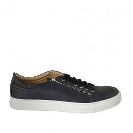Man's laced shoe with removable insole in blue leather - Available sizes:  47, 48, 49, 50